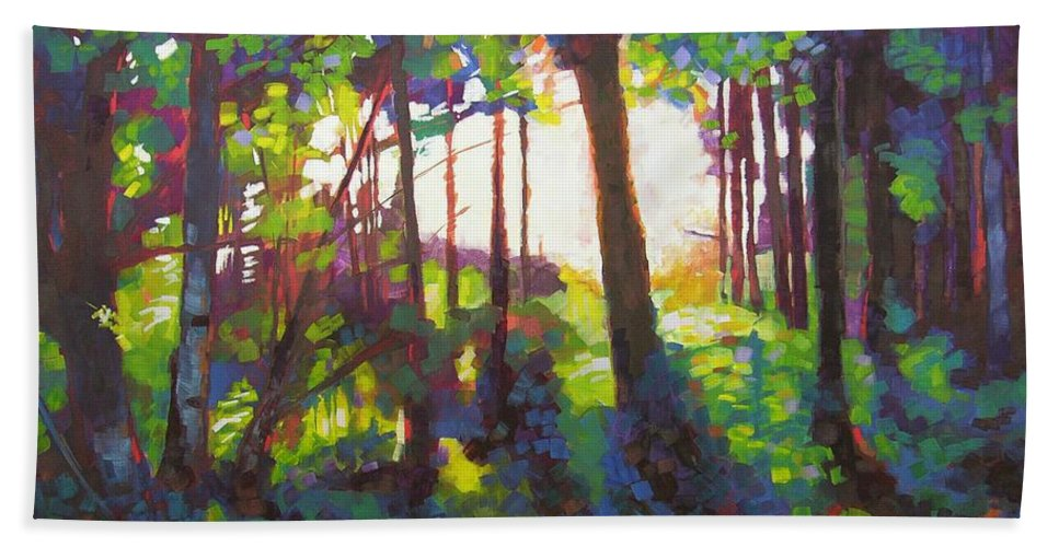 Landscape Beach Towel featuring the painting Canopy by Mary McInnis