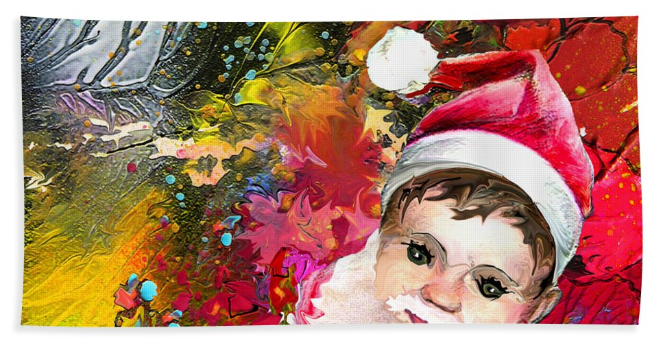 Santa Baby Painting Beach Towel featuring the painting Cant Stop Now by Miki De Goodaboom