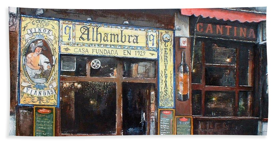 Madrid Beach Towel featuring the painting Cantina Alhambra 1 by Tomas Castano