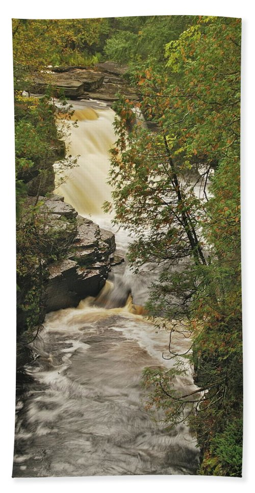 Michigan Beach Towel featuring the photograph Canyon Falls 2 by Michael Peychich