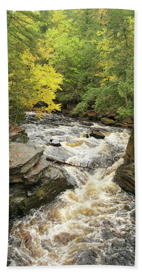 Michigan Beach Towel featuring the photograph Canyon Falls by Michael Peychich