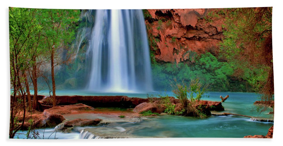 Southwest Beach Towel featuring the photograph Canyon Falls by Scott Mahon
