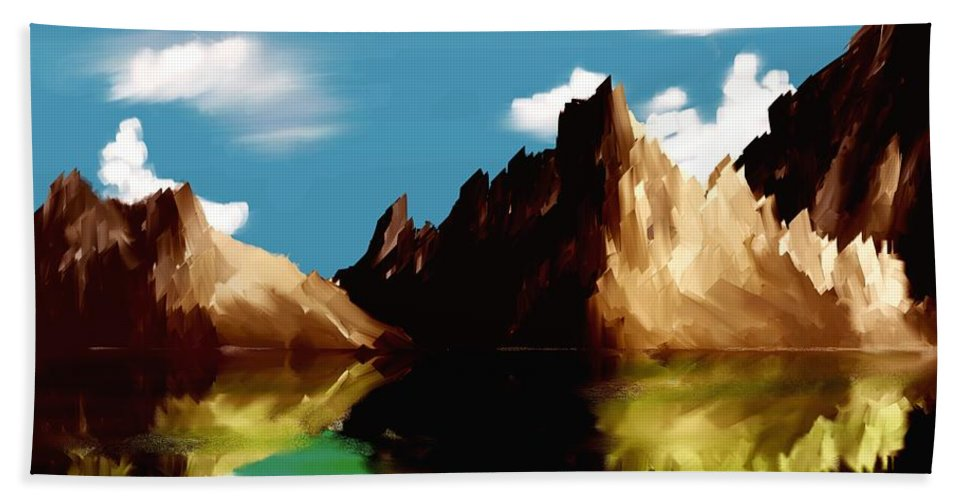 Digital Art Beach Towel featuring the digital art Canyon Lake by David Lane