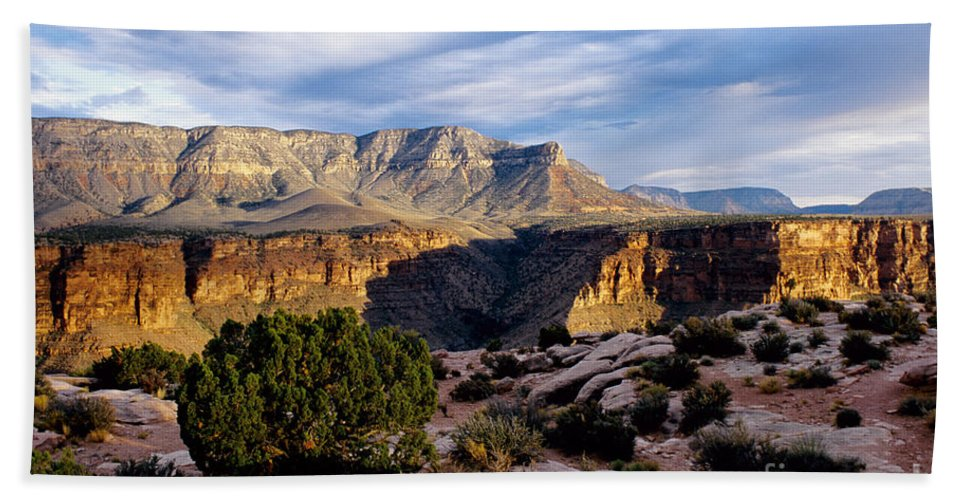 Toroweap Beach Towel featuring the photograph Canyon Walls At Toroweap by Kathy McClure