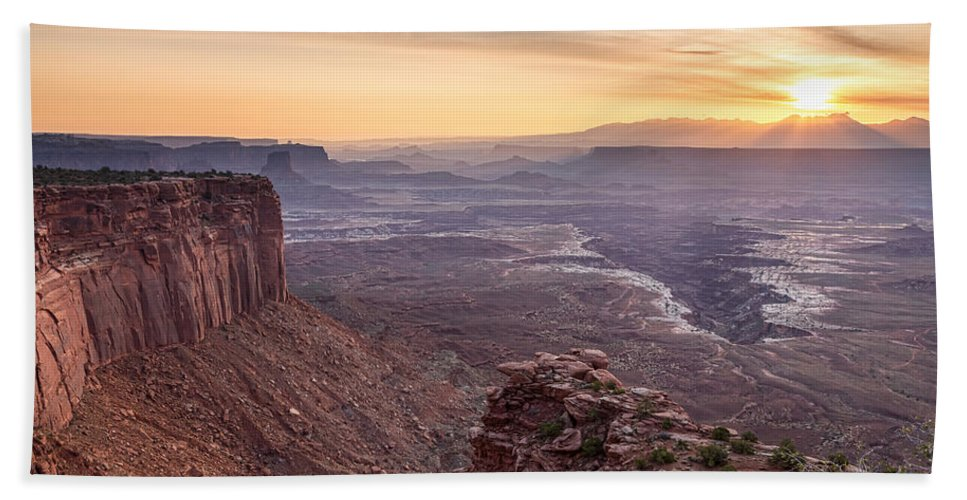 Canyonlands Beach Towel featuring the photograph Canyonlands Sunrise by James BO Insogna
