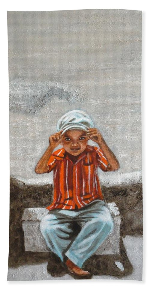 Cap Beach Towel featuring the painting Cap On by Usha Shantharam