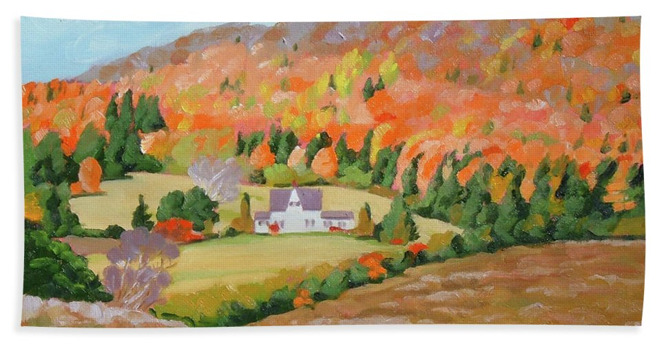 Landscape Beach Towel featuring the painting Cape Breton Home by Carol Morrison
