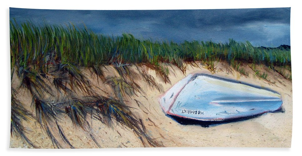 Boat Beach Towel featuring the painting Cape Cod Boat by Paul Walsh