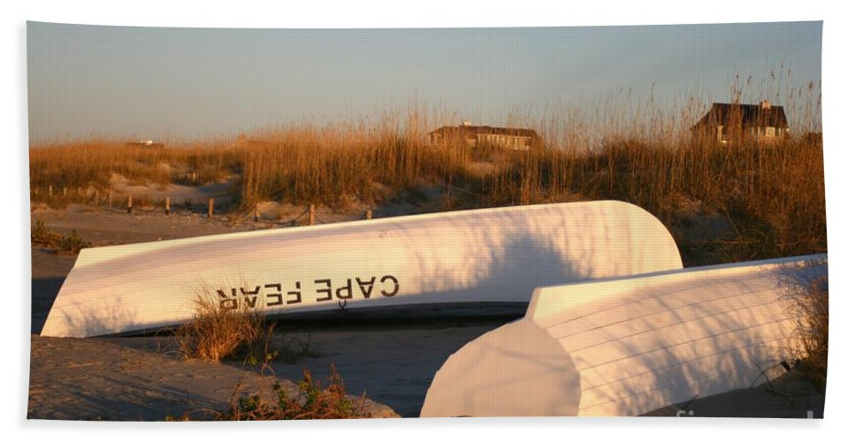 Boats Beach Sheet featuring the photograph Cape Fear Boats by Nadine Rippelmeyer