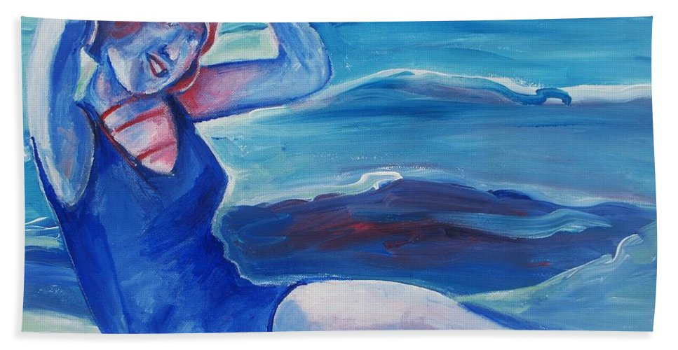 Beach Beach Towel featuring the painting Cape May 1920s Girl by Eric Schiabor
