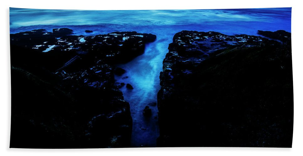 Cape Perpetua Blue Night Pacific Northwest Hike Hiking Wilderness Outside Pnw Outdoors Pacific Northwest Explore Mountain View Views Quest Live Authentic Outbound Trees Love Beautiful Happy Fun Art Smile Style Amazing Cool Awesome Adventure Digital Art Starry Sky Beach Towel featuring the photograph Cape Perpetua Blue Night by Pelo Blanco Photo