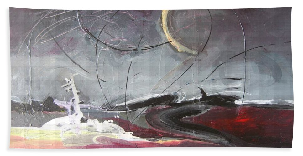 Abstract Paintings Beach Sheet featuring the painting Cape St. Mary by Seon-Jeong Kim