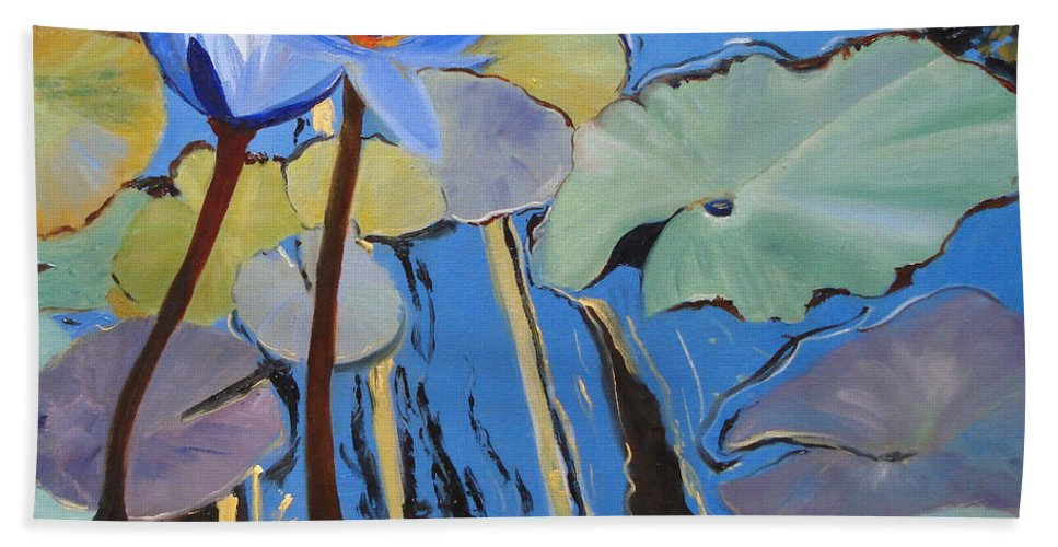 Lillies Beach Towel featuring the painting Capistrano Lillies by Barbara Andolsek