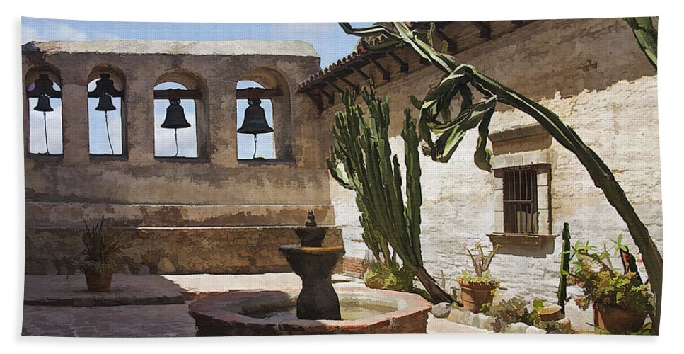 Mission Beach Towel featuring the digital art Capistrano Mission Courtyard by Sharon Foster