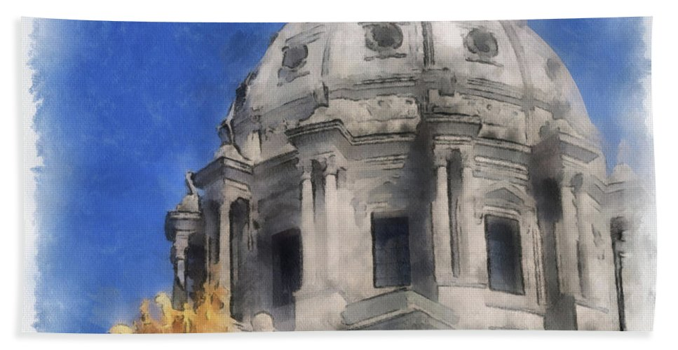 Digital Beach Towel featuring the photograph Capitol Dome St Paul Minnesota by Paulette B Wright