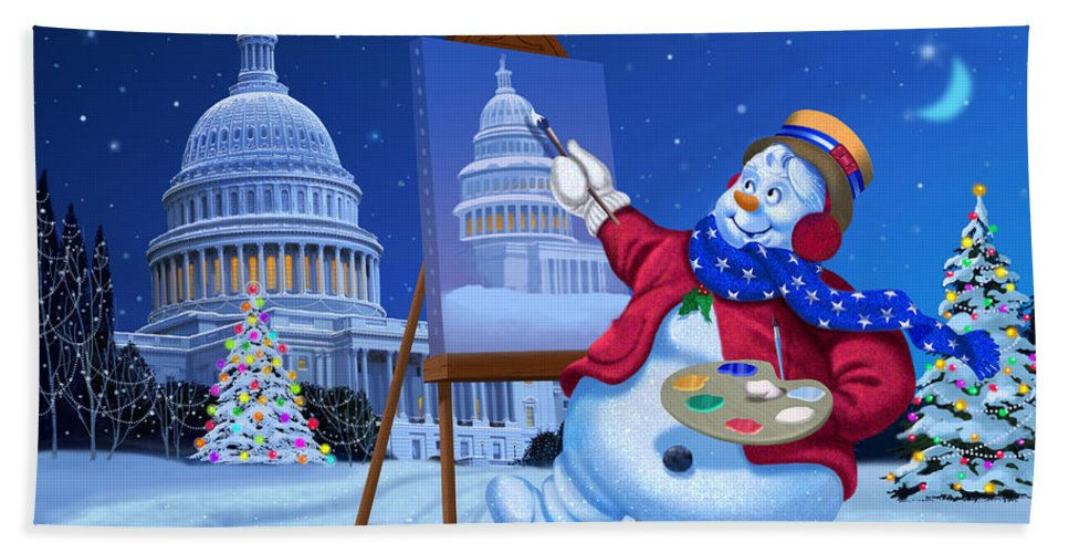 Michael Humphries Beach Towel featuring the painting Capitol Christmas by Michael Humphries