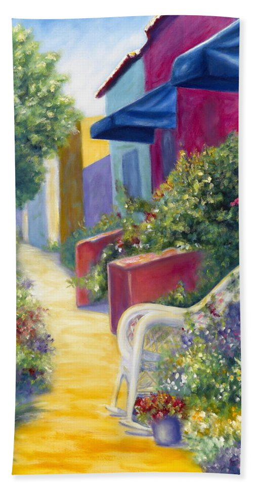 Capitola Beach Towel featuring the painting Capitola Dreaming by Shannon Grissom