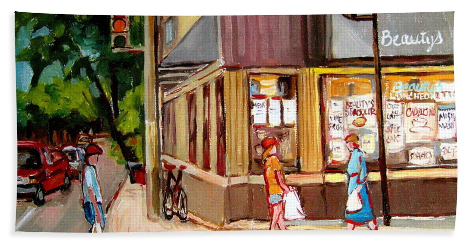 Cafes Beach Towel featuring the painting Cappucino Cafe At Beauty's Restaurant by Carole Spandau