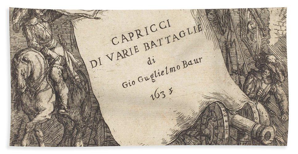 Beach Towel featuring the drawing Capricci Di Varie Battaglie (title Page) by Johann Wilhelm Baur