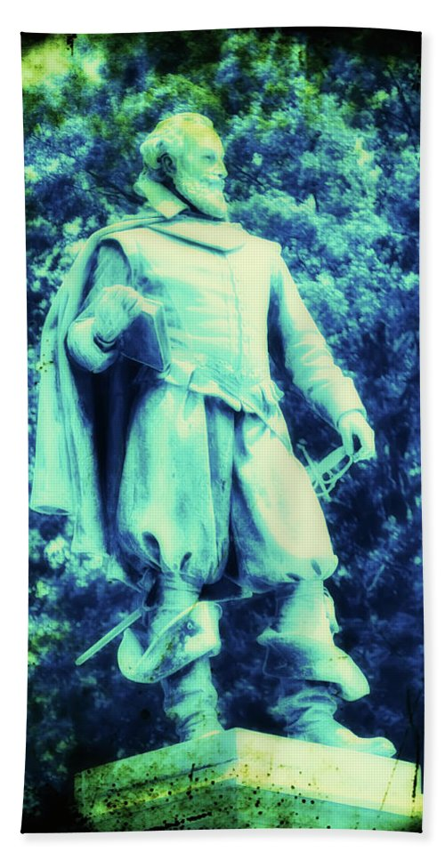Captain Beach Towel featuring the photograph Captain John Smith - Jamestown Virginia by Bill Cannon