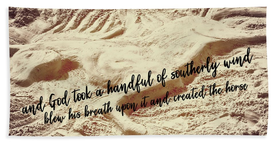 Art Beach Sheet featuring the photograph Captured In The Sand Quote by Dressage Design