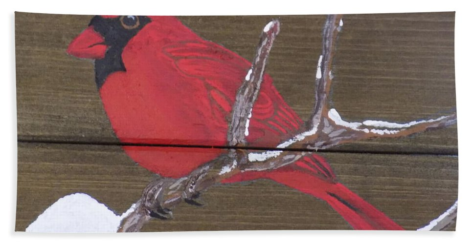 Bird Beach Towel featuring the painting Cardinal 2 by Paul Bashore