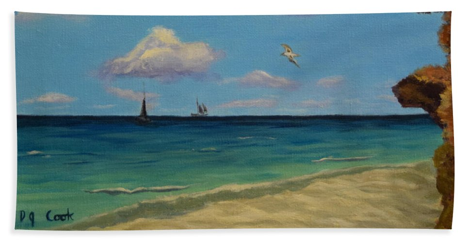 Carefree Beach Towel featuring the painting Carefree by Donna Cook