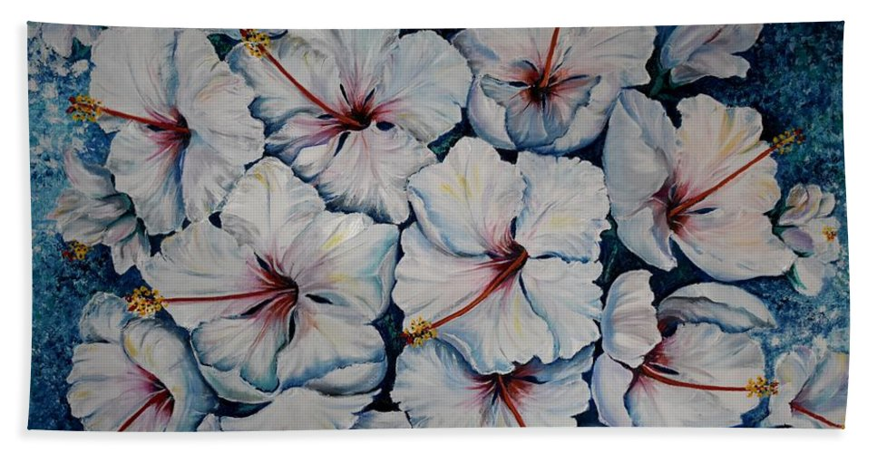 White Hibiscus Beach Towel featuring the painting Caribbean Hibiscus by Karin Dawn Kelshall- Best
