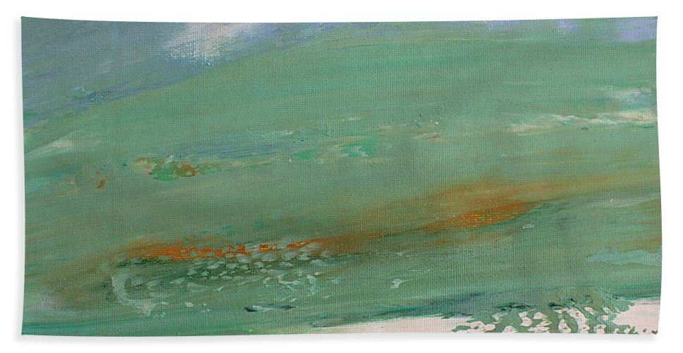 Seascape Beach Towel featuring the painting Caribbean by Norma Duch