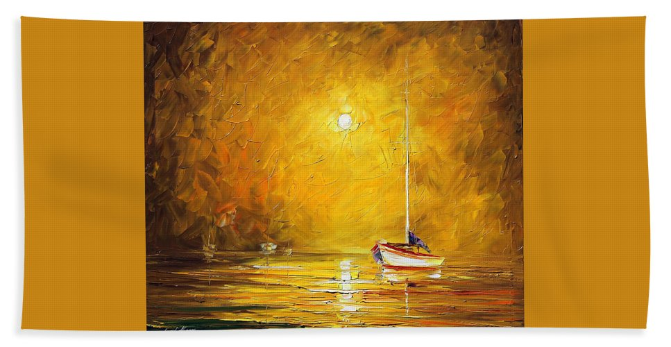 Afremov Beach Towel featuring the painting Caribbean Sea by Leonid Afremov