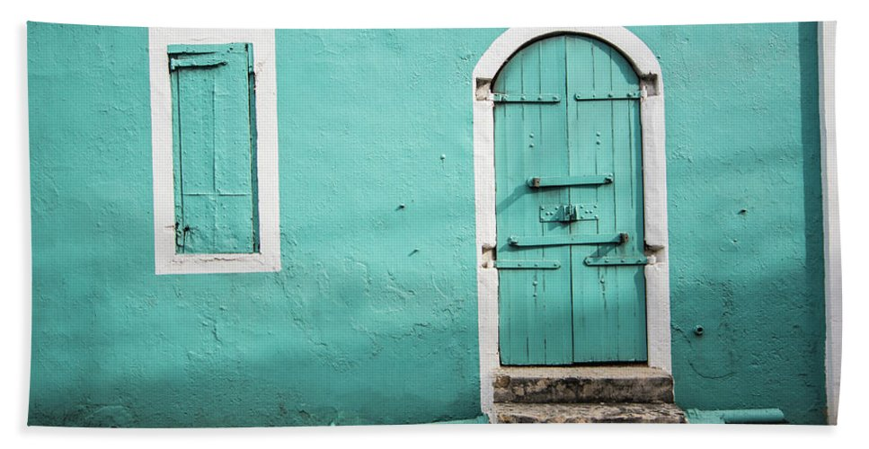 Caribbean Beach Towel featuring the photograph Caribbean Storefront by Rob Lantz