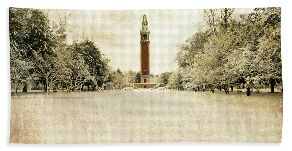 Beach Towel featuring the photograph Carillon In The Snow by Guy Crittenden