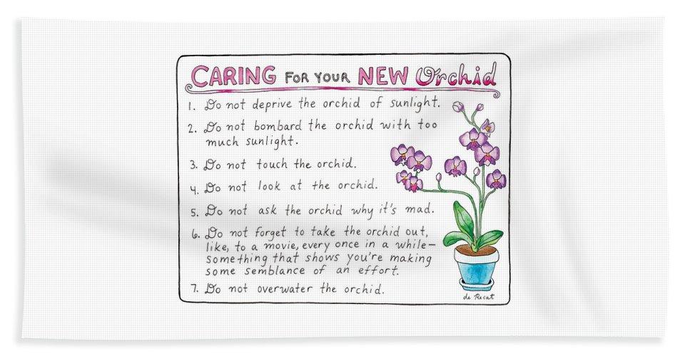 Caring For Your New Orchid Beach Sheet featuring the drawing Caring For Your New Orchid by Olivia de Recat