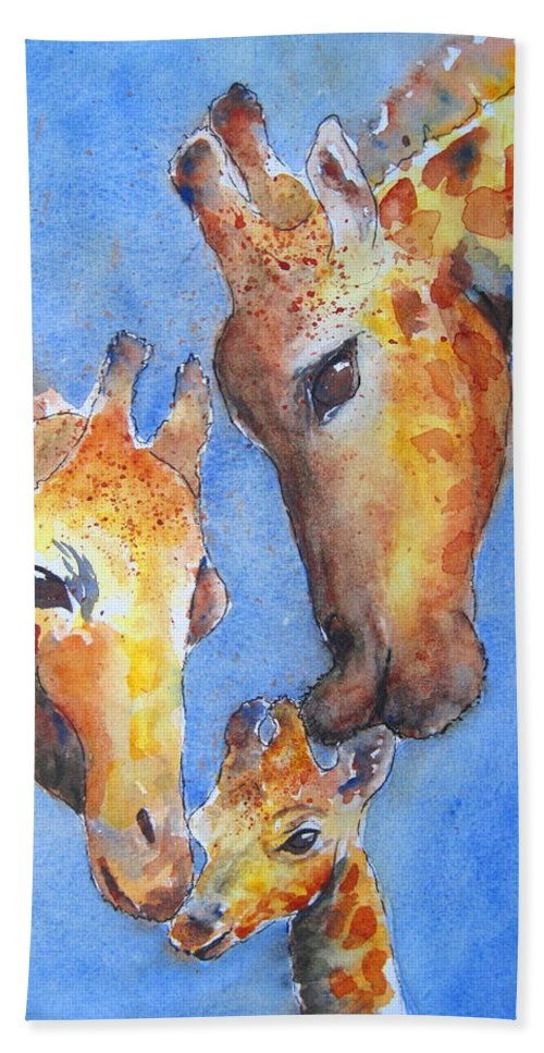 Giraffes Beach Towel featuring the painting Caring Hearts by Corynne Hilbert