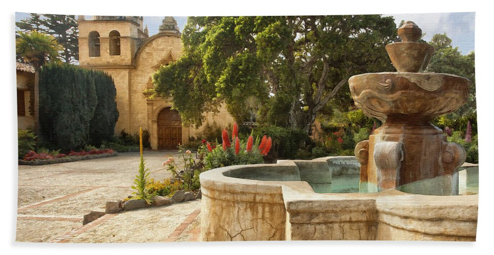Mission Beach Towel featuring the digital art Carmel Church And Fountain by Sharon Foster