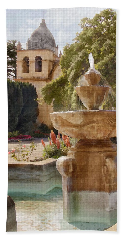 Mission Beach Towel featuring the digital art Carmel Fountain Courtyard by Sharon Foster