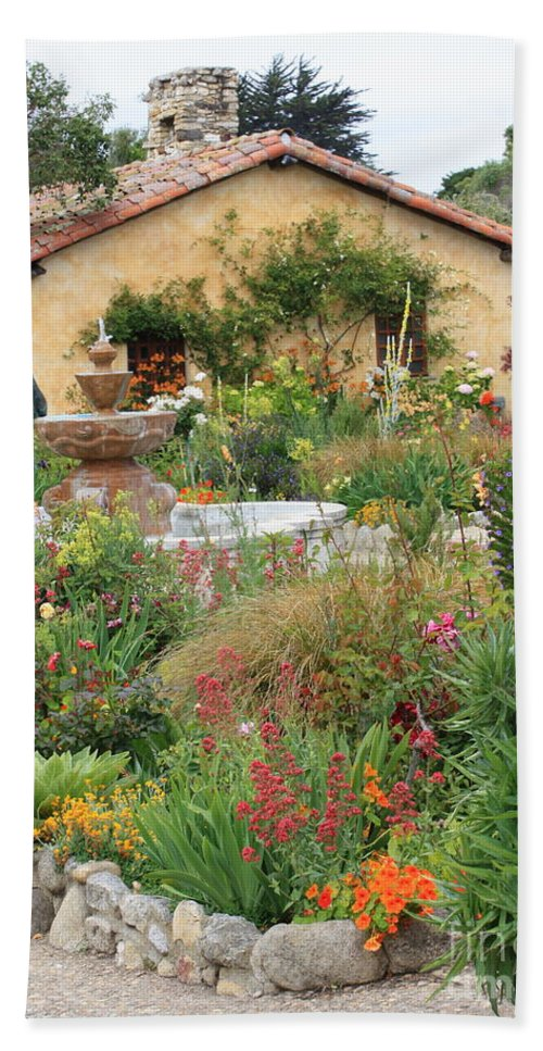 Carmel Mission Courtyard Beach Towel featuring the photograph Carmel Mission Courtyard Garden by Carol Groenen