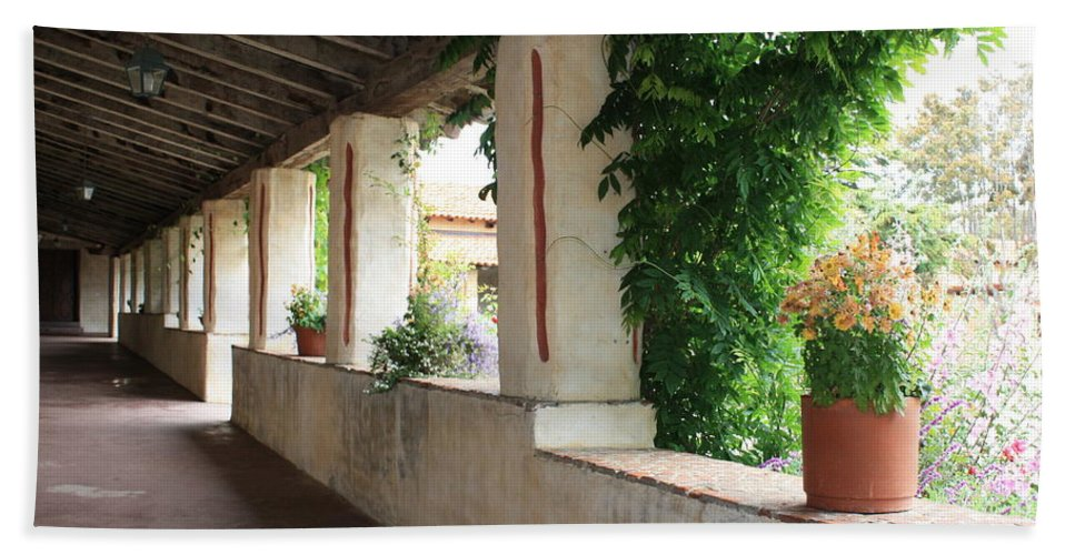 Carmel Mission Walkway Beach Towel featuring the photograph Carmel Mission Walkway by Carol Groenen