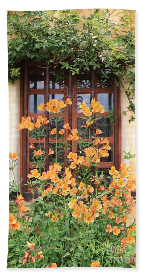 Alstroemeria Beach Towel featuring the photograph Carmel Mission Window by Carol Groenen