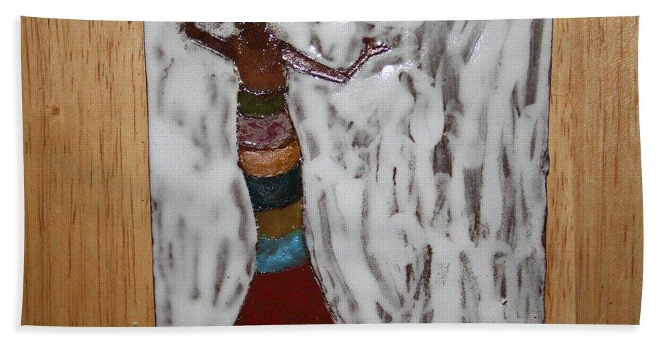Jesus Beach Towel featuring the ceramic art Carmen - Tile by Gloria Ssali