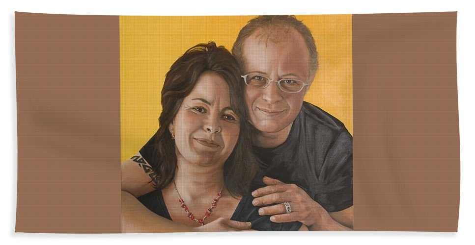 Portrait Beach Towel featuring the painting Caroline And Rob by Rob De Vries