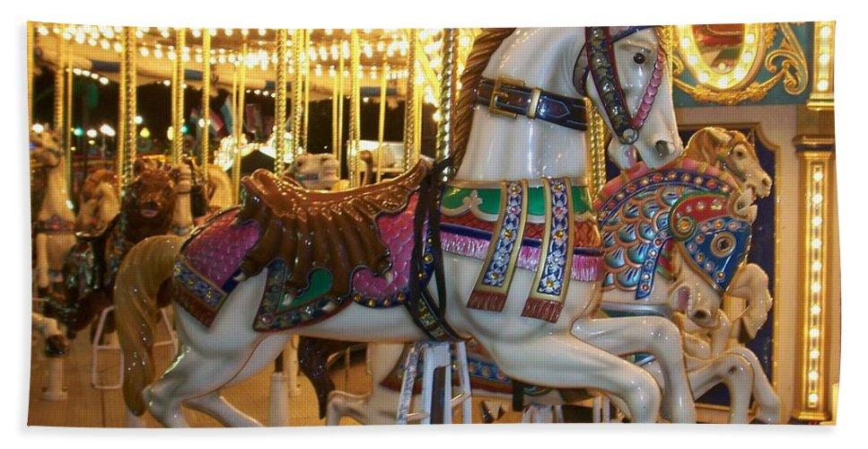 Carosel Horse Beach Sheet featuring the photograph Carosel Horse by Anita Burgermeister