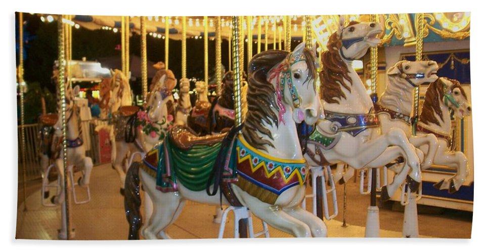 Carousel Horse Beach Sheet featuring the photograph Carousel Horse 4 by Anita Burgermeister