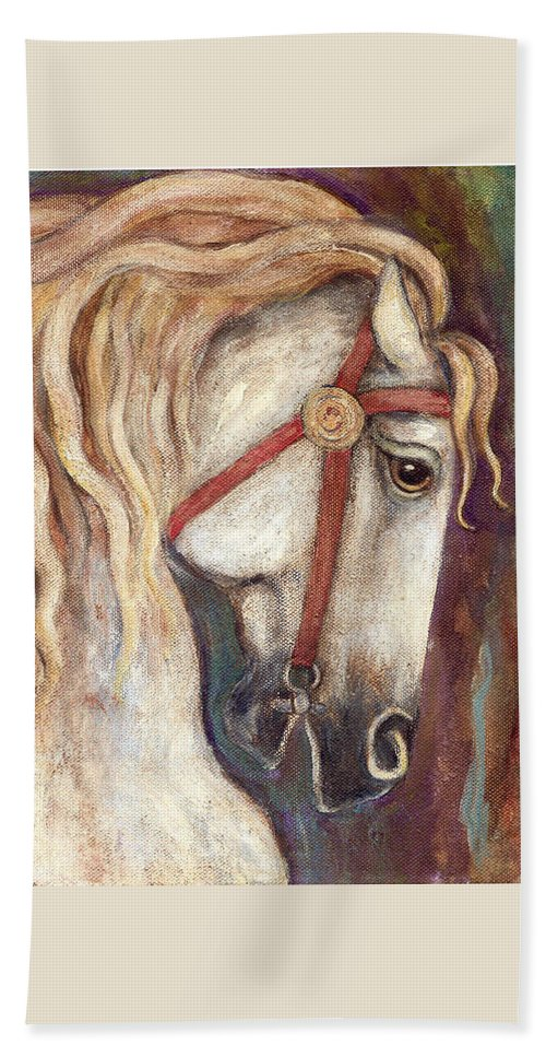 Horse Painting Beach Sheet featuring the painting Carousel Horse Painting by Frances Gillotti