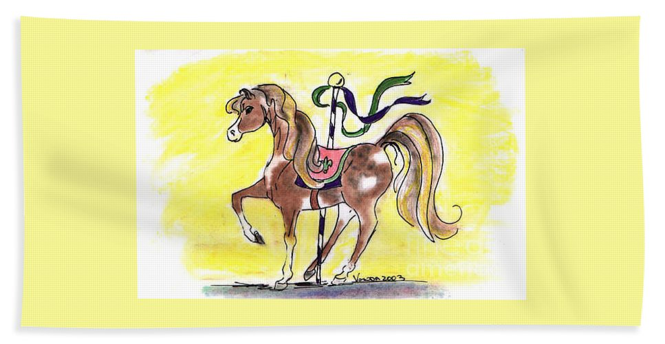 Carousel Beach Towel featuring the drawing Carousel Horse by Vonda Lawson-Rosa