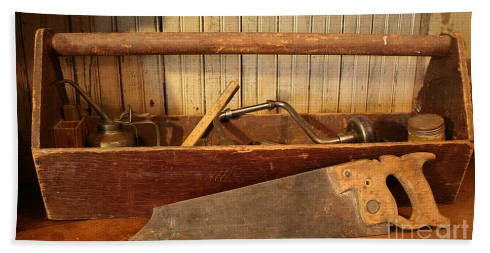 Tool Beach Towel featuring the photograph Carpenter's Toolbox - Not Free Do Not Copy by Marna Edwards Flavell