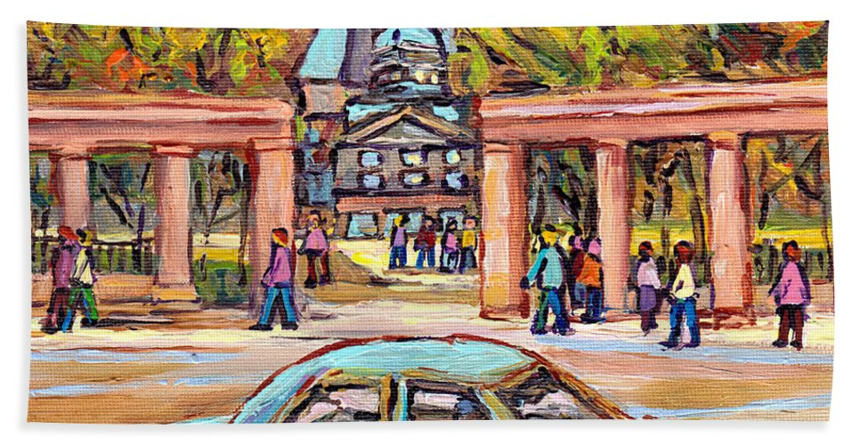 Carpool To School Mcgill University Roddick Gates Paintings For Sale Canadian Artist C Spandau Art Beach Towel