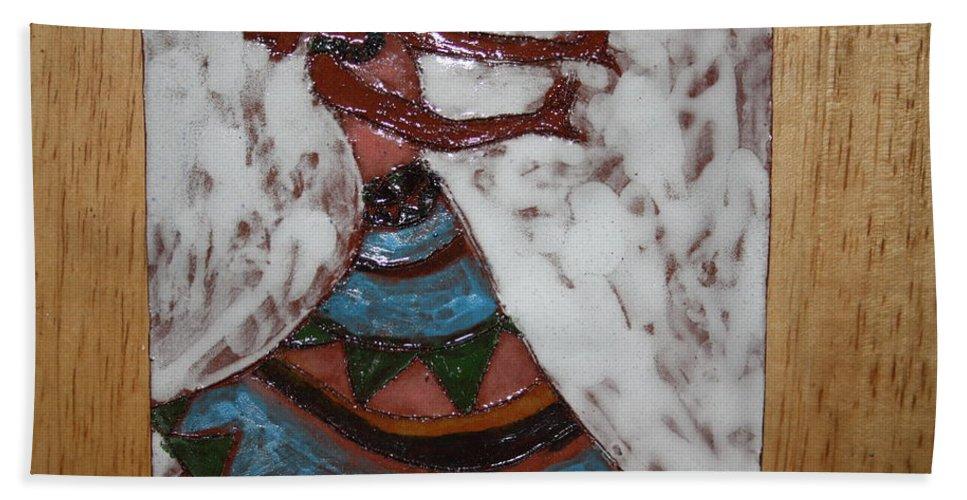 Jesus Beach Towel featuring the ceramic art Carrie - Tile by Gloria Ssali