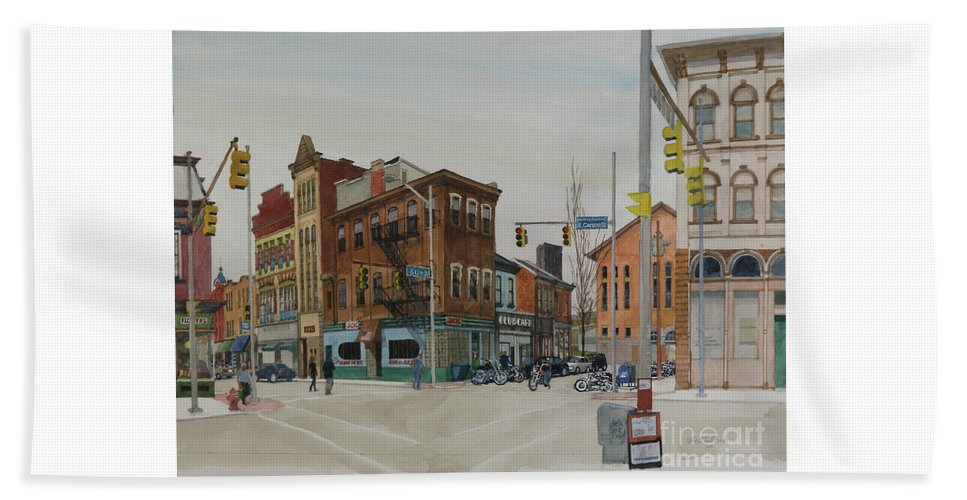 Pittsburgh Beach Towel featuring the painting Carson Street Southside Pittsburgh by Robert Bowden
