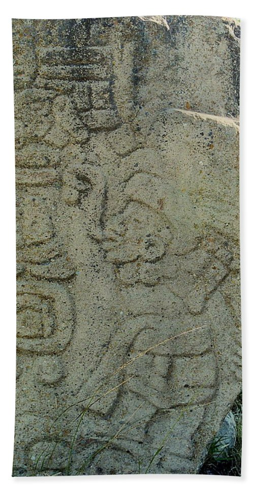 Danzantes Beach Towel featuring the photograph Carved Danzantes Stone by Michael Peychich